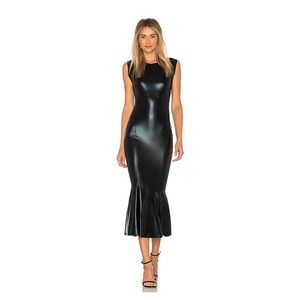 Norma Kamali Black Foil Fishtail Cocktail Dress